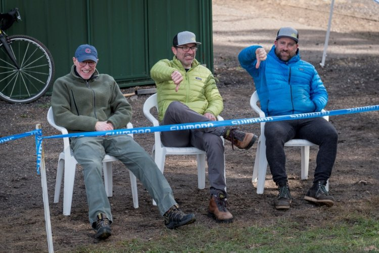 Fans offer their thoughts on the weekend's wet, windy weather. 2017 Green Acres CX. © Todd Fawcett Photography