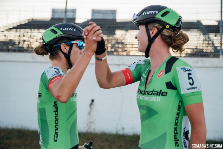 Cannondale p/b Cyclocrossworld.com riders Kaitie Keough and Emma White congratulate each other for their podium finishes. 2017 KMC Cross Fest Day 1 (Friday) © J. Curtes / Cyclocross Magazine