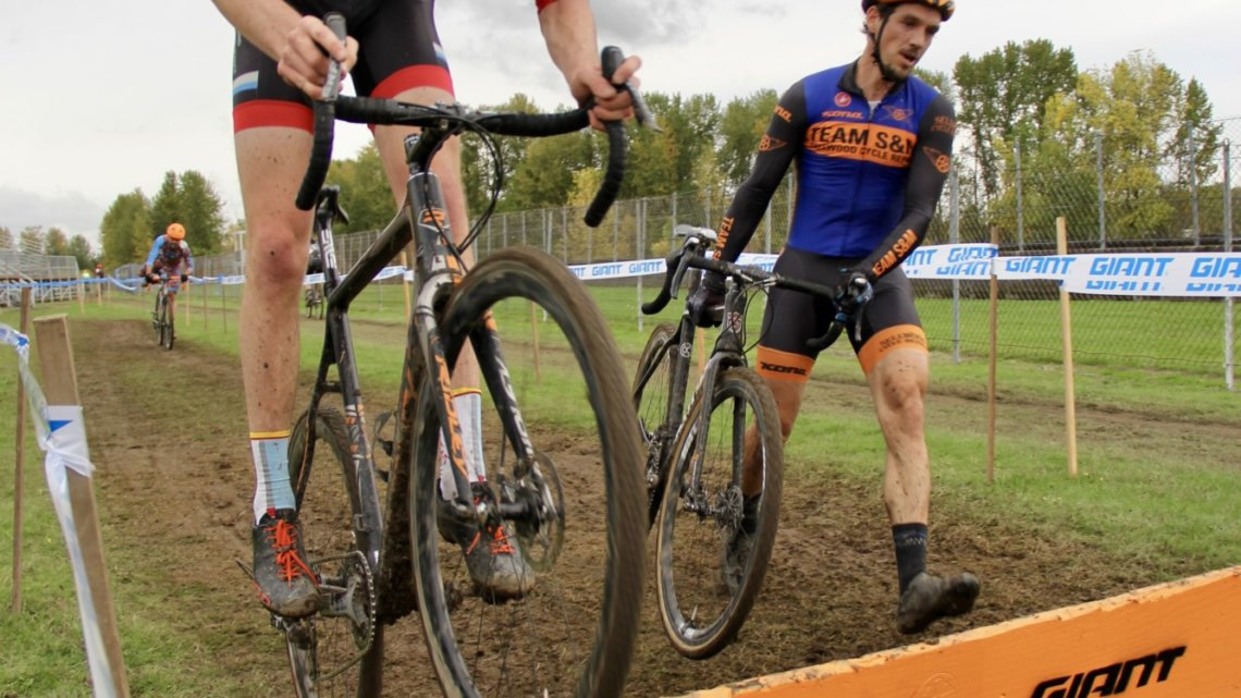 Young phenom Henry Jones (Bend Endurance Academy) proved he's no fluke at Heron Lakes by staying on his bike over every barrier on course. Driving the crowds crazy with excitement. © M. Estes / Cyclocross Magazine