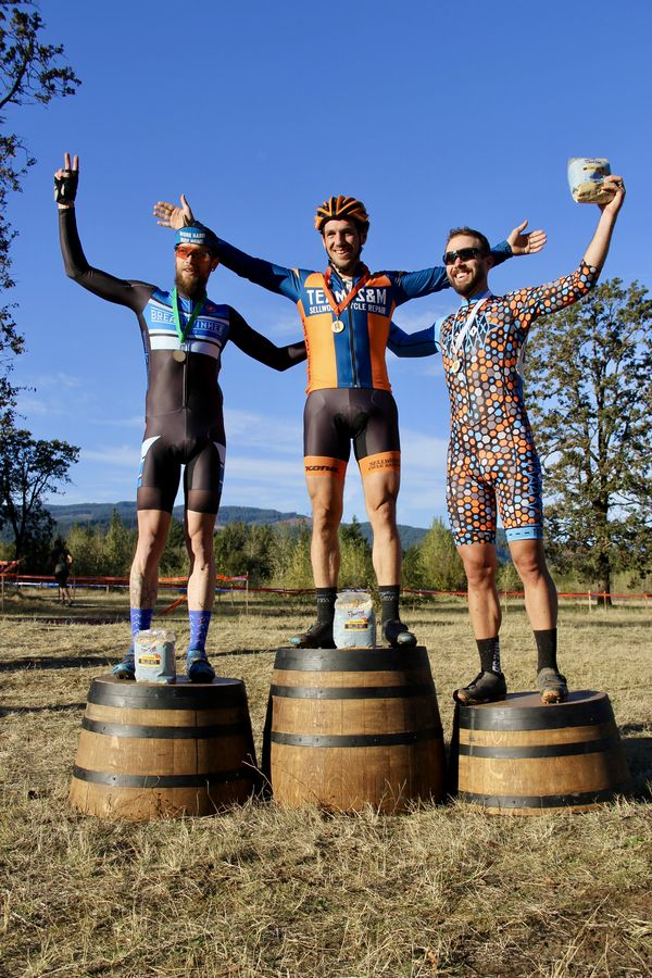 Bob's Red Mill Men's Elite Podium (l to r) 2nd Josh Kelly (Breadwinner Cycles) Winner Sean Babcock (Team S&M) and Mitchell Trux (PDX TI) CX Crusade Cascade Locks. Photo M. Estes