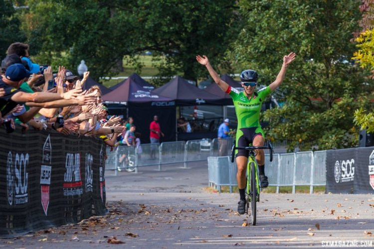 Kaitie Keough celebrates her win. 2017 Charm City Cross Day 1 © M. Colton / Cyclocross Magazine