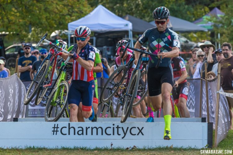 After the selection had been made Ortenblad, Hyde, Powers, and Werner would continue to battle for the lead. 2017 Charm City Cross Day 1 © M. Colton / Cyclocross Magazine