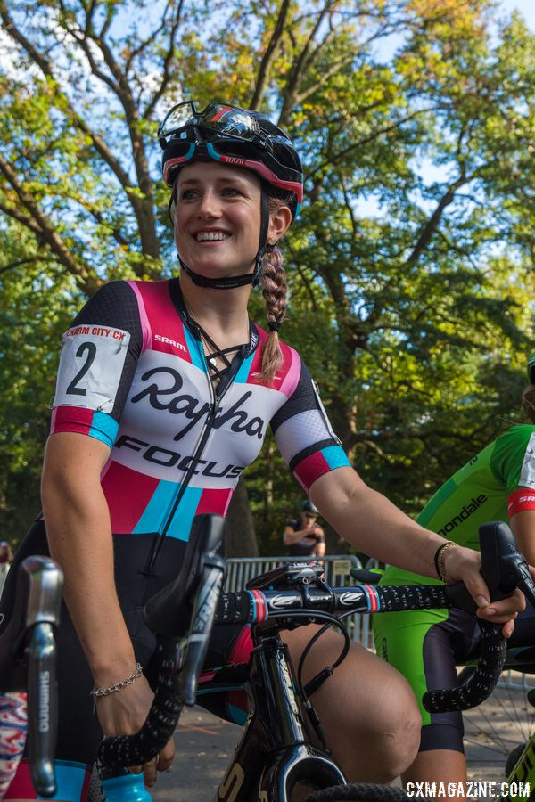 Ellen Noble (Aspire Racing) was all smiles at the startline. 2017 Charm City Cross © M. Colton / Cyclocross Magazine
