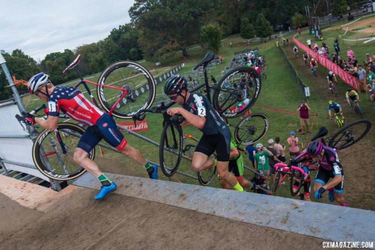 Stephen Hyde leads riders up the steep flyover. 2017 Charm City Cross Day 2. © M. Colton / Cyclocross Magazine