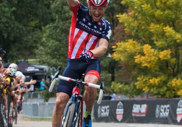 Stephen Hyde celebrates his win. 2017 Charm City Cross Day 2. © M. Colton / Cyclocross Magazine