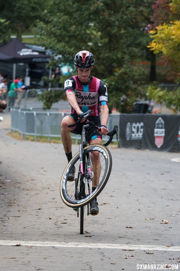Spencer Petrov pops a wheelie to celebrate finishing second. 2017 Charm City Cross Day 2. © M. Colton / Cyclocross Magazine