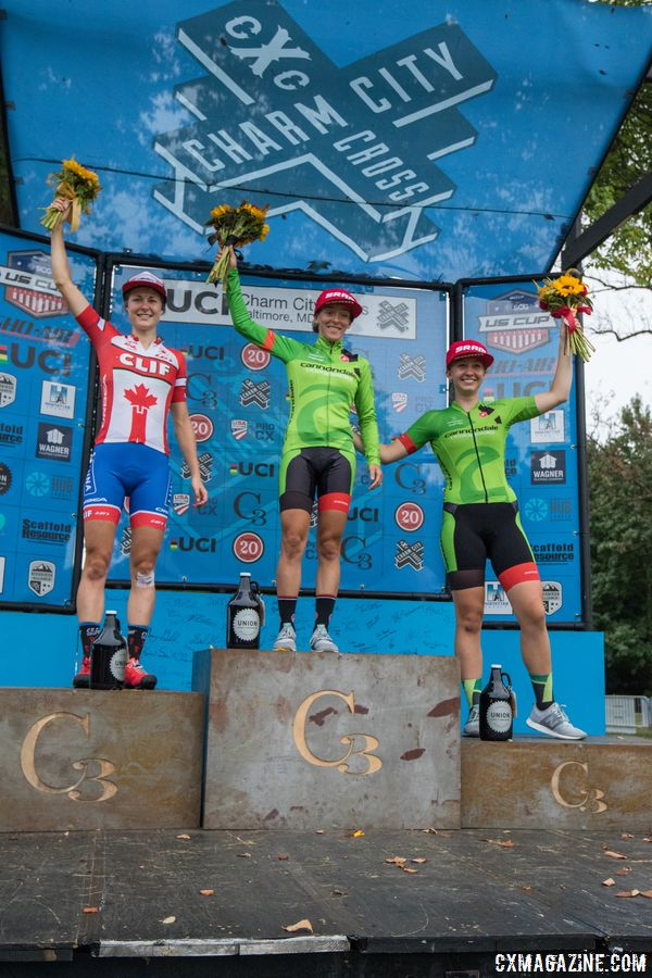 Women's podium: Keough, Rochette, White. 2017 Charm City Cross Day 2. © M. Colton / Cyclocross Magazine