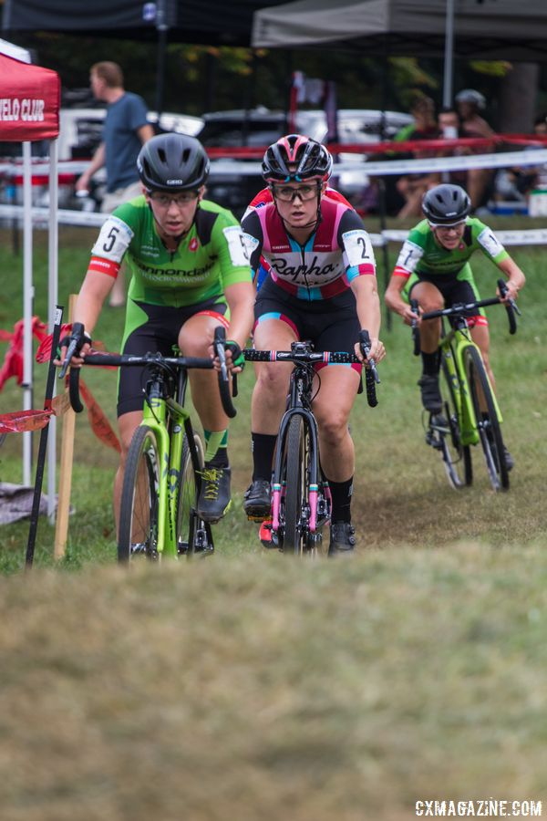 Emma White leads Ellen Noble while Kaitie Keough chases. 2017 Charm City Cross Day 2. © M. Colton / Cyclocross Magazine