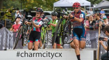 Rebecca Fahringer (Stans NoTubes p/b Maxxis/gofahr) leads riders over the barriers. 2017 Charm City Cross © M. Colton / Cyclocross Magazine