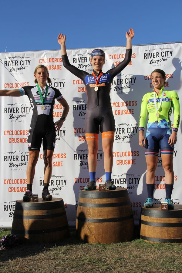 Women's Elite Podium (l to r) 2nd Serena Bishop-Gordon (Liv-Giant) Winner Clara Hosinger (Team S&M) and 3rd Alexandra Burton (Point S Racing) CX Crusade 2017 Day Two. Photo Mike Estes