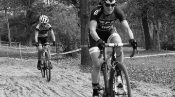 Katie Isermann leads Caitlin Neuman at the sand. 2017 Grafton Pumpkin Cross. © Z. Schuster / Cyclocross Magazine