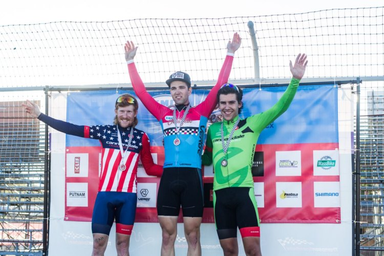 Men's podium: Ortenblad, Hyde and White. 2017 KMC Cross Fest Day 2. © Jake Orness
