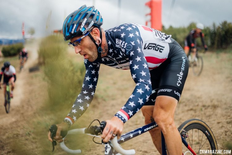 Adam Myerson got the chance to race in his Stars and Stripes kit on Saturday. 2017 KMC Cross Fest Day 1 (Friday) © J. Curtes / Cyclocross Magazine