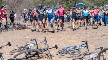 Both the Mens and Womens A fields featured a Le Mans style start. 2017 Rock Lobster Cup, Wilder Ranch. © J. Vander Stucken / Cyclocross Magazine