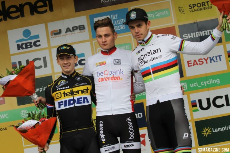 Men's podium: Mathieu van der Poel, Lars van der Haar and Wout van Aert. 2017 World Cup Koksijde. © B. Hazen / Cyclocross