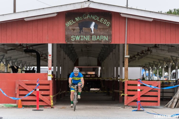 Exit from the barn. Luckily there were no pigs inside. 2017 Surf City Cyclocross © J. Vander Stucken / cxmagazine.com