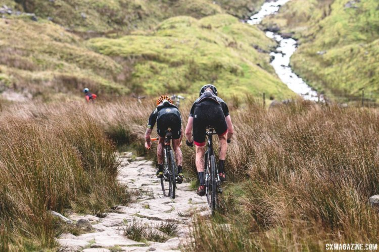 Sometimes you take the wrong path - riders and bikes suffer on the decent of Whernside. 2017 Three Peaks Cyclocross. © D. Monaghan / Cyclocross Magazine