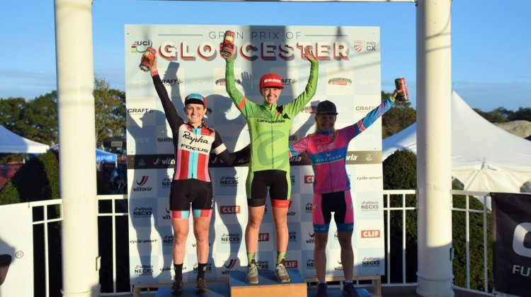 Women's podium Day 1 of GLoucester GP: Emma White, Ellen Noble, Christel Ferrier-Bruneau © C. McIntosh