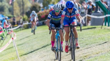 Katerina Nash and Courtenay McFadden battled deep into the race on Saturday. 2017 West Sacramento GP (Saturday). © J. Vander Stucken / Cyclocross Magazine