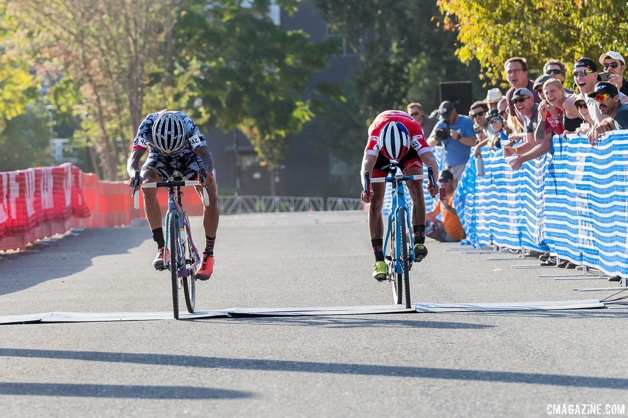 Clark topped one of his young rivals at the 2017 West Sac GP. 2017 West Sacramento GP (Saturday). © J. Vander Stucken / Cyclocross Magazine