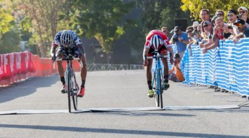 Anthony Clark (Squid Bikes) edged out Lance Haidet (Donnelly) in a sprint finish. 2017 West Sacramento GP (Saturday). © J. Vander Stucken / Cyclocross Magazine
