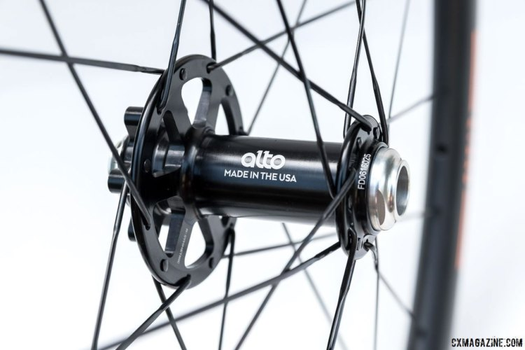 Alto front hub, Hi-Lo flange with high side on brake rotor side. 12 spokes each side, laced x2. © C. Lee / Cyclocross Magazine