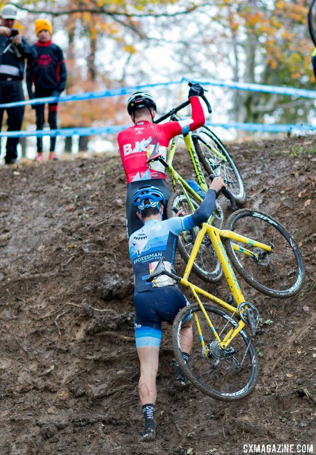 Torin Bickmore and Ben Gomez Villafane scale the vertical, muddy run-up. 2017 Cincinnati Cyclocross, Day 1. © Cyclocross Magazine