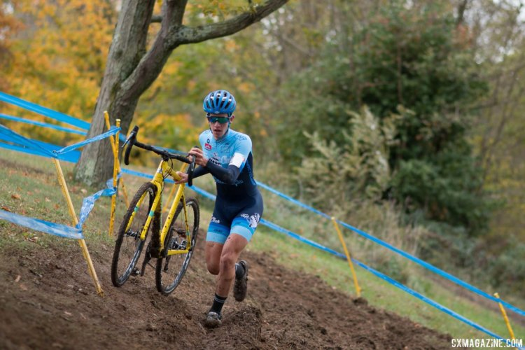 Ben Gomez Villafane saw his three UCI race win streak come to a halt in muddy Devou park. 2017 Cincinnati Cyclocross, Day 1.© Cyclocross Magazine