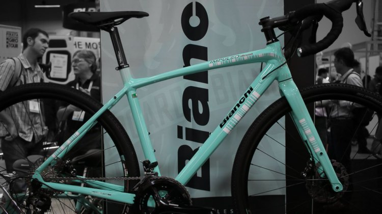 2018 Bianchi Impulso Allroad Shimano 105 bike, with hydraulic flat mount brakes, thru axles, and a new alloy frame with clearance for 40mm tires. Interbike 2017. © Cyclocross Magazine