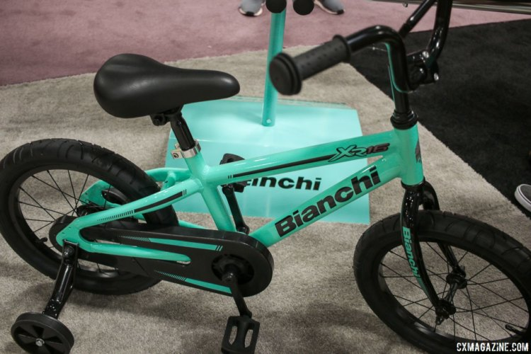 For 2018, Bianchi will be serving up a healthy dose of Celeste for the little ones, via its X2 and Duel kid's bikes. Interbike 2017. © Cyclocross Magazine