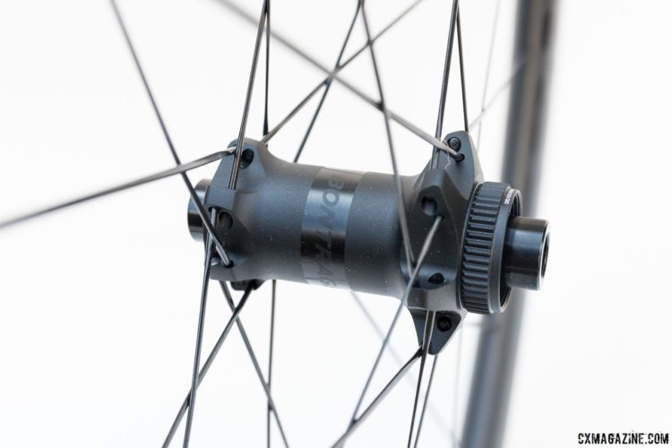 Bontrager's hubs are centerlock rotor compatible. The wheels have 24 straight pull bladed spokes in a 2x pattern. Bontrager Aeolus 3 Tubeless-Ready Carbon Disc Clincher. © C. Lee / Cyclocross Magazine