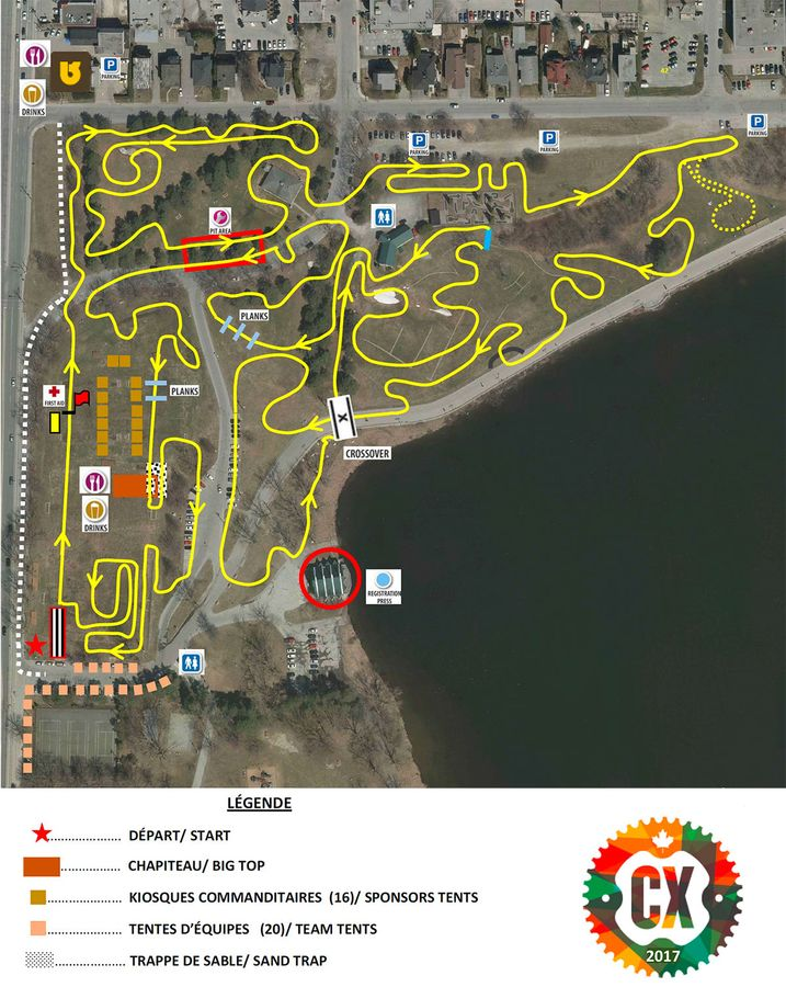 2017 Canadian Nationals course map. Sherbrooke CX.