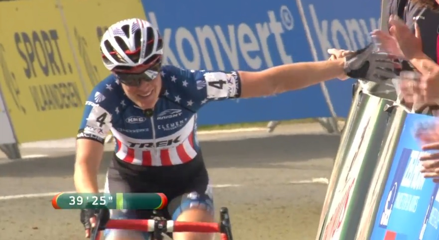 Katie Compton won in Ronse on Sunday. photo: trekbikes.com screen capture
