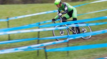 Gage Hecht rode to an impressive second by following Stephen Hyde's wheel. Elite Men, 2017 Cincinnati Cyclocross, Day 2, Harbin Park. © Cyclocross Magazine