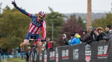 Stephen Hyde celebrates his win at Harbin Park. Elite Men, 2017 Cincinnati Cyclocross, Day 2, Harbin Park. © Cyclocross Magazine