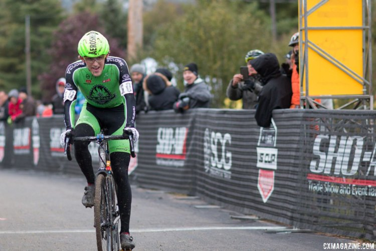 Gage Hecht said he was ecstatic with his second-place finish. 2017 Cincinnati Cyclocross, Day 2, Harbin Park. © Cyclocross Magazine