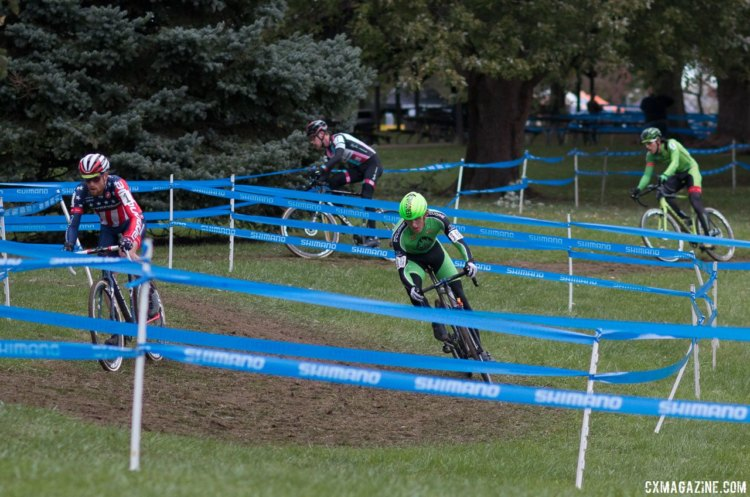 As the other riders spread out behind them, Hyde and Hecht escaped off the front. Elite Men, 2017 Cincinnati Cyclocross, Day 2, Harbin Park. © Cyclocross Magazine