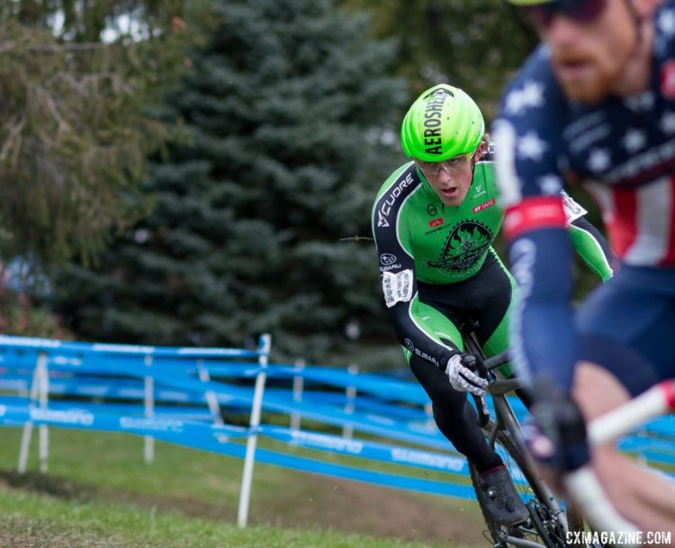 Gage Hecht focused on following Stephen Hyde and was rewarded wit ha second-place finish. Elite Men, 2017 Cincinnati Cyclocross, Day 2, Harbin Park. © Cyclocross Magazine