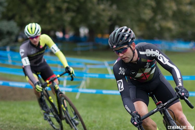 Tobin Ortenblad had another disappointing day at Cincinnati, while Cooper Willsey surged into the top ten to finish seventh. Elite Men, 2017 Cincinnati Cyclocross, Day 2, Harbin Park. © Cyclocross Magazine