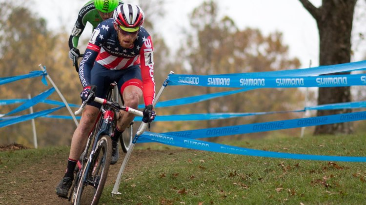 Stephen Hyde eventually had too much for Gage Hecht to handle. Hyde attacked in the last lap to win out of the lead selection. Elite Men, 2017 Cincinnati Cyclocross, Day 2, Harbin Park. © Cyclocross Magazine