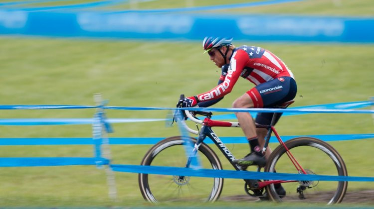 It took until the last lap for Stephen Hyde to go solo to victory. Elite Men, 2017 Cincinnati Cyclocross, Day 2, Harbin Park. © Cyclocross Magazine