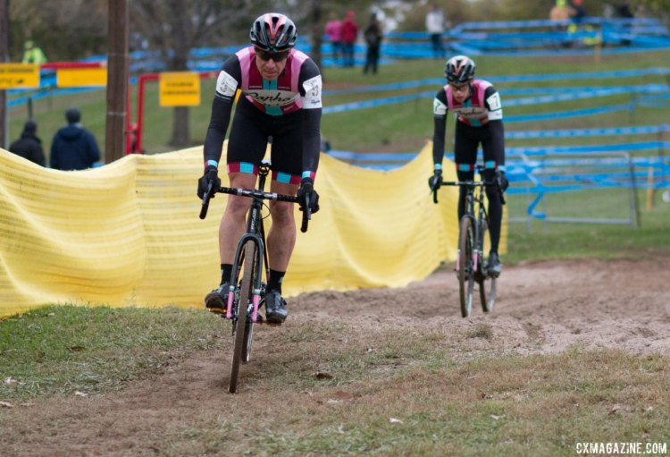 Petrov and Powers have formed a strong relationship over the years. Elite Men, 2017 Cincinnati Cyclocross, Day 2, Harbin Park. © Cyclocross Magazine