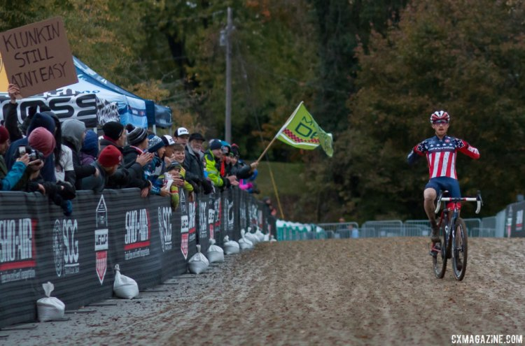 Hyde does the jersey proud. 2017 Cincinnati Cyclocross, Elite Men, Day 1. © Cyclocross Magazine