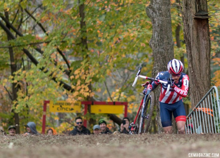 Hyde took a giant step towards a possible US Cup-CX victory and payday. 2017 Cincinnati Cyclocross, Day 1. © Cyclocross Magazine
