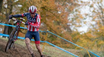 Stephen Hyde ran away to a commanding victory on a course he calls the best in the U.S. 2017 Cincinnati Cyclocross, Day 1. © Cyclocross Magazine