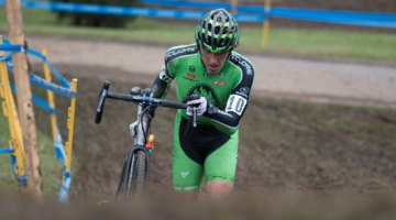 Gage Hecht had a strong start and finished fourth, second U23. 2017 Cincinnati Cyclocross, Day 1. © Cyclocross Magazine