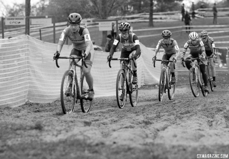 The course at Harbin Park produced bigger groups than Saturday's at Devou Park allowed. Elite Women, 2017 Cincinnati Cyclocross, Day 2, Harbin Park. © Cyclocross Magazine