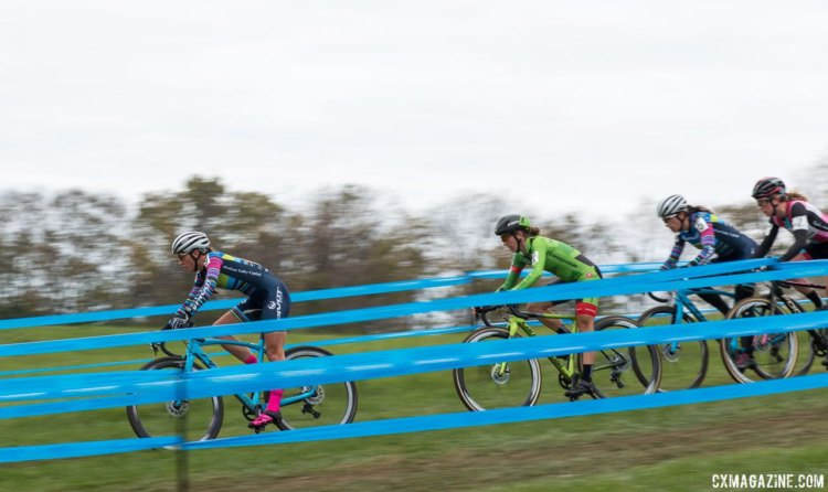 Sofia Gomez Villafane, Ellen Noble, Kaitie Keough and Courtenay McFadden were joined by Emma White at the front of Sunday's race. Elite Women, 2017 Cincinnati Cyclocross, Day 2, Harbin Park. © Cyclocross Magazine
