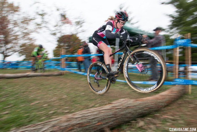Ellen Noble adjusted her aerial skills to the unique barriers. Elite Women, 2017 Cincinnati Cyclocross, Day 2, Harbin Park. © Cyclocross Magazine