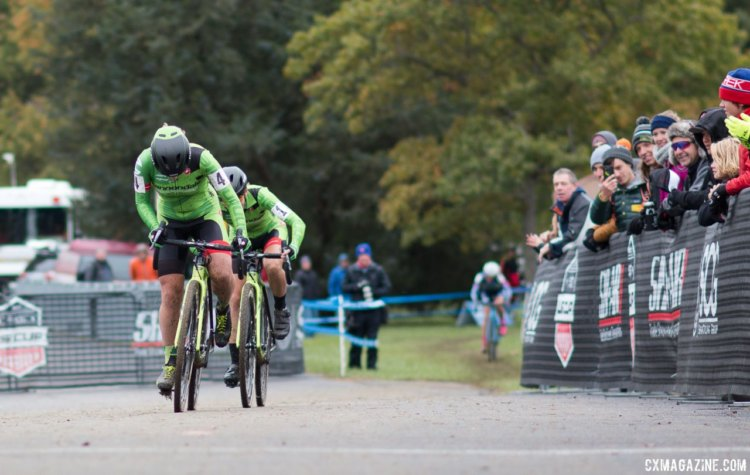 Emma White and Kaitie Keough finished second and third on Sunday. Elite Women, 2017 Cincinnati Cyclocross, Day 2, Harbin Park. © Cyclocross Magazine